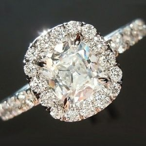 Princess White Sapph Halo in 14K White Gold Ring